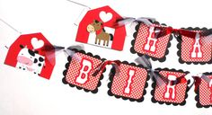 Items similar to Cute Farm Animal Party Theme Happy Birthday Banner With Barns and Red Gingham Patterned Paper on Etsy Farm Party Decorations, Farm Animal Party, Farm Animals, Happy Birthday, Holiday Decor, Unique Jewelry, Handmade Gifts, Cute, Vintage