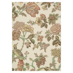 Add a chic focal point to your foyer, den, or master suite with this lovely rug, featuring a botanical-inspired motif in a pear hue.