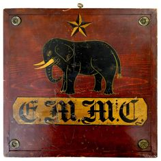 Great American Folk Art Game Board Featuring a Star and Elephant | From a unique collection of antique and modern game boards at https://www.1stdibs.com/furniture/folk-art/game-boards/