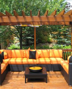 Outdoor Wicker Patio Furniture Sets With Orange Cushions And Small Wooden Coffee Table With Wood Pergola Design For Backyard Patio Wicker Patio Furniture Sets, Cheap Patio Furniture, Modern Outdoor Furniture, Affordable Furniture, Furniture Ideas, White Furniture, Furniture Stores, Rustic Furniture, Furniture Makeover