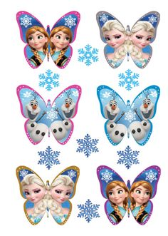 24 x 3D FROZEN BUTTERFLY Edible Cake Cupcake Toppers + 20 FREE SNOWFLAKES