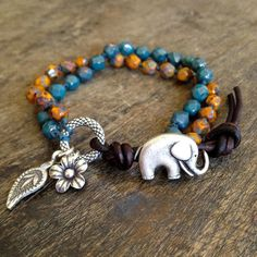 Boho Elephant Leather Multi Wrap Bracelet , Bohemian Jewelry $38.00