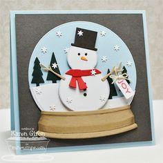 paper snow globes crafts   Snowman snow globe card   Paper Crafts