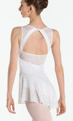 INDIRA - This elegant dress brings classic and modern design together, featuring a gorgeous combination of simple four-way stretch mesh and embroidered, burnout jersey details. Beautiful, mid-back opening with floral detail. Full front lining, ballet leg cut. #wearmoi #ballet #dresses