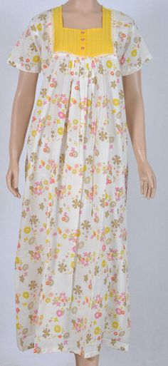 Cotton, long-gown half sleeve Nightie, light sandal base yellow pink floral pattern-all over, with plain yellow pin-tuck yoke with buttons. Easy to wear and comfortable to sleep with! Dress Neck Designs, Blouse Designs, Night Gown Dress, Cotton Nighties, Nightgown Pattern, Night Dress For Women, Nightgowns For Women, House Dress, Sleepwear Women