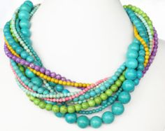 Chunky Spring Bounty Turquoise Necklace - Spring Jewelry - Pastel Turquoise Statement Necklace/turq, pink and lime green beads