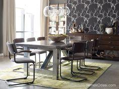 Gri Yemek Odası  Sonbahar renklerini modern stille buluşturuyor ve yemek odanızı sıcak bir ortama dönüştürüyoruz.    Beyaz desenlerle koyu gri duvarlar,parlak gri yemek masası,venge konsol ve gri çizgili sandalyelerle bütünleşiyor ve eğlenceli bir yemek odasına dönüşüyor.8 kişilik olan yemek masasında,sandal ... http://www.yemekodasi.com/gri-yemek-odasi/