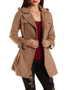 Pleated Wool Trench Coat: Charlotte Russe