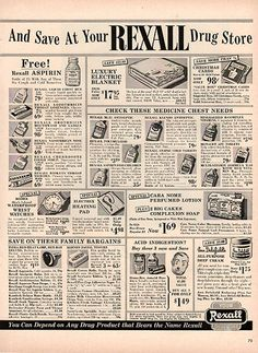 """1954 Rexall Drug Store Original Health and Beauty Print Ad -An original vintage 1954 advertisement, not a reproduction -Measures approximately 10"""" x 13"""" to 11"""" x 14"""" -Ready for matting and framing."""