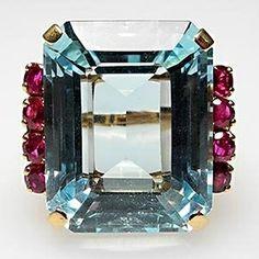 Ring Love-18k Emerald Aquamarine &rubies