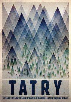 Tatry - Tatra MountainsCheck also other posters from PLAKAT-POLSKA Original Polish poster designer: Ryszard Kaja year: Kunst Poster, Poster S, Graphic Design Illustration, Graphic Art, Illustration Art, Vintage Graphic, Polish Movie Posters, Graphisches Design, Mountain Designs