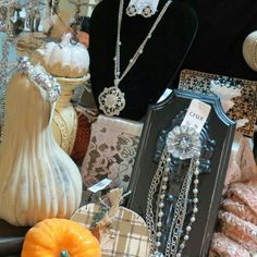 Autumn display Boutique Store Displays, Boutique Stores, Autumn Display, Pearl Necklace, Pearls, Jewelry, String Of Pearls, Jewlery, Jewerly
