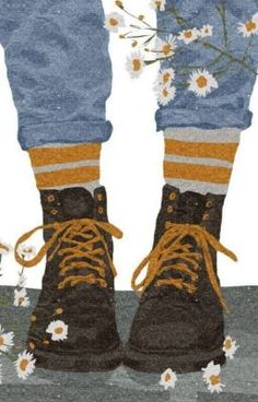 Today I am wearing my daisy roots. 'Daisy roots' is Cockney rhyming slang for ' boots. A phrase well known in London! Art Afro, Illustration Art, Illustrations, Aesthetic Art, Cartoon Art, Cute Drawings, Cute Wallpapers, Art Sketches, Cute Art