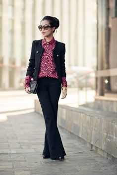 Black and red. Great jacket. Work it girl good choice!