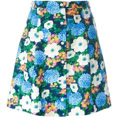 Carven floral print mini skirt (1,630 GTQ) ❤ liked on Polyvore featuring skirts, mini skirts, blue, blue skirt, blue floral skirt, multi colored skirt, colorful skirts and mini skirt