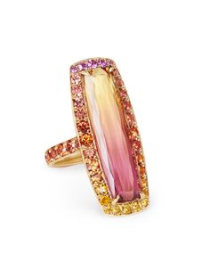 COUTURE COLLECTION ~ Bi-colored Topaz Ring with a 17.43 Imperial Bi-colored Topaz and Orange Sapphires in 20k Rose Gold