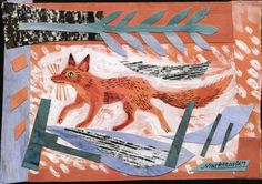 Mark Hearld, fox, collage, print, collage, nature, wildlife, pattern, colour, illustration