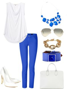 White and royal blue spring, summer outfit.  Outfit for shopping, work, casual, date night.  Featuring royal blue jeans, white heels, white handbag, royal blue necklace, royal accessories, white tee.  Necklace from www.hawthorne-collection.com