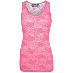 Pilot Tania Floral Lace Print Vest Top (61 SEK) ❤ liked on Polyvore featuring tops, pink, floral tank top, scoopneck top, pink floral top, pink tank and scoop neck tank