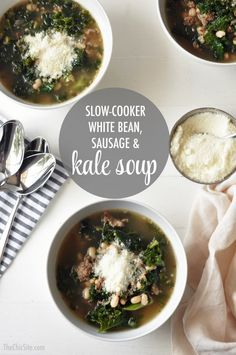 Slow Cooker Soup Recipes ~ with Kale, White Bean and Sausage #dinner