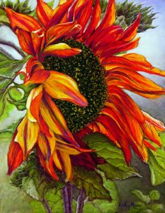 Love the bold color and composition. Will definitely make the right statement piece for any room. RED SUNFLOWER, BY KATHY MANN