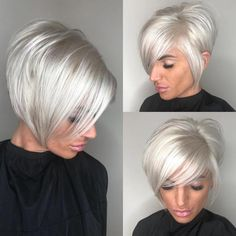 High-Shine Sleek Silver Pixie Bob - 100 Mind-Blowing Short Hairstyles for Fine Hair - The Trending Hairstyle - Page 32 Short Thin Hair, Short Hair With Layers, Short Hair Cuts, Short Hair Styles, Bobs For Thin Hair, Platinum Blonde Bobs, Platinum Hair, Silver Blonde, White Blonde Bob