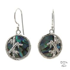 Round Abalone Earrings with Silver Bamboo
