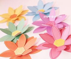 Printable Paper Flowers by PAPER*GLITTER