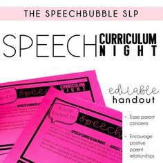 Don't just sit in your office on Curriculum Night, be proactive! Host your very own Speech Curriculum Night! Invite parents to join you for an informal and informative event and learn about how speech in your room works. Hosting your own event can help to: 1. Ease parent concerns  2.Open a line o...