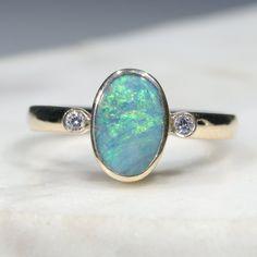Natural Australian Boulder Opal and Diamond Gold Ring  - Size 7.25 Code - RL37 10k Gold Ring, Gold Diamond Rings, Gold Rings, Natural Opal, Natural Diamonds, Gold Ring Designs, Opal Color, Green Opal, Australian Opal