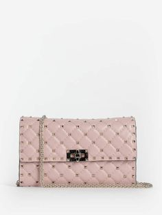 b21c71c05 Valentino Shoulder Bags - VALENTINO WOMEN'S PINK ROCKSTUD SPIKE QUILTED BAG