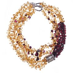 Multi-Strand Citrine Garnet Sterling Silver Ropes | From a unique collection of vintage multi-strand necklaces at https://www.1stdibs.com/jewelry/necklaces/multi-strand-necklaces/