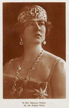Queen Marie of Yugoslavia nee Princess Marie of Romania Golden Cross Tiara Romanian Royal Family, Real Queens, British Royal Families, Royal Clothing, Picture Postcards, Beautiful Castles, Royal Jewelry, Queen Mary, Kaiser