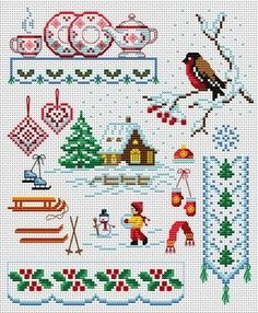 Cross Stitch: Winter Motifs (skates, skiis, mittens, snow, etc.)