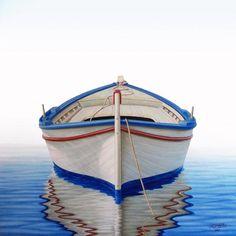 Greek Boat Painting - Greek Boat Fine Art Print - Horacio Cardozo
