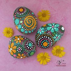 FREE SHIPPING!  Hand Painted River Rock Trio - fields of color collection Trio #49  (1) 3.5 X 2.5 X .5 (1) 3.25 X 2.5 X .5 (1) 3 X 2.5 X .5 - Total Weight - 22 ounces  Mandala Inspired Design - Natural Home Decor - Garden Art - Weather Resistant Lacquer Finish  As in nature no two ethereal & earth stones are alike. Each stone and its design is unique. I work with each stones shape, size, and texture to create a singular mix of art & nature. Brightly colored hand painted river rocks add a pop…