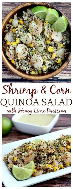 Shrimp & Corn Quinoa Salad with Honey Lime Dressing is fresh, light, and super delicious! It is the perfect Summer lunch or side dish at a barbecue or get-together! It's an easy recipe and can be made ahead of time and kept in the refrigerator. Serve chilled, at room temperature, or warm.