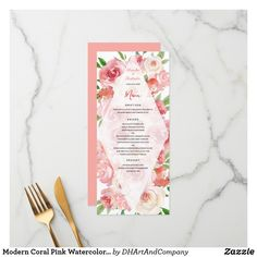 Shop Modern Coral Pink Watercolor Floral Boho Wedding Menu created by DHArtAndCompany. Watercolor Wedding, Watercolor Flowers, Wedding Menu Cards, Coral Pink, Zazzle Invitations, Boho Wedding, Wedding Colors, Hand Lettering, Create Your Own