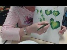 Pintando folhas com Donna - one stroke