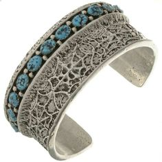 Natural Kingman Silver Spiderweb Cuff Heavy Gauge Silver Bracelet
