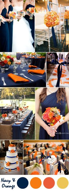 navy blue and orange wedding color ideas