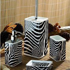 Superbe Safari Zebra Black And White Bath Accessories By Nameeks   Black And White Bathroom  Accessories