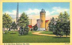 Mackinaw City Michigan MI 1937 Lighthouse Collectible Antique Vintage Postcard