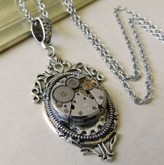 Image of Exquisite Steampunk Silver Clockwork Necklace