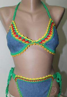 Crochet Jeans Bikini Set Sexy Jeans Bikini by PinarKnitting