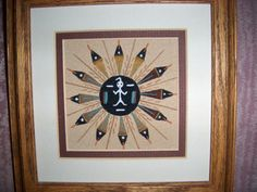 """Navajo Sandpainting Sand Painting Signed  """"Sun and Eagle"""" 7.5 inches"""