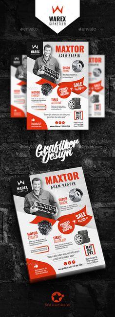Automobile Part Flyer Templates — Photoshop PSD #professional flyers #car wash • Download ➝ https://graphicriver.net/item/automobile-part-flyer-templates/20481209?ref=pxcr