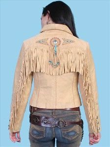 Click for Larger Image A Scully Ladies' Leather Suede Jacket:Frontier Fringe Chamois XS-2XL Advance Order