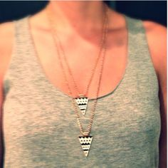 Triangle Shape Double-Deck Necklace! Costume jewelry. Black and white printed punk style triangles. Jewelry Necklaces