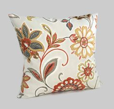 Calabaza naranja marrón Floral Throw Pillow cojín tapa casa